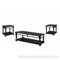 ACME Caree Coffee/End Table Set (3 Pack) Black Crocodile PU - B012W7VFHA