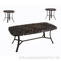 ACME Daisy Black Faux Marble and Antique Bronze Coffee End Table Set 3 Piece - B073ZH1B8V