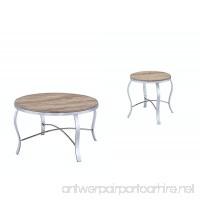 ACME Furniture 81705 Malai 3Piece Pack Coffee End Set  Weathered Light Oak & Chrome - B01N3S1FS2