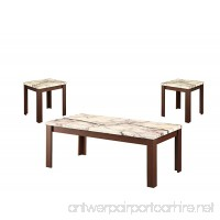 Acme Furniture 82132 3 Piece Carly Coffee/End Table Set  Faux Marble & Cherry - B01H3OUDZ2