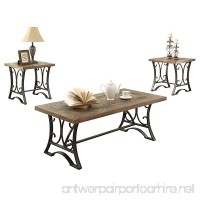 ACME Kiele Oak and Antique Black Coffee End Table Set 3 Piece - B012W7UIZK