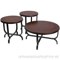 Ashley Furniture Signature Design - Ferlin Circular Occasional Table Set - Contains Cocktail Table & 2 End Tables - Contemporary - Dark Brown - B00APT2C3O