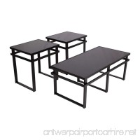 Ashley Furniture Signature Design - Laney Glass Top Occasional Table Set - Contains Cocktail Table & 2 End Tables - Contemporary - Black Finish - B002O8COSM