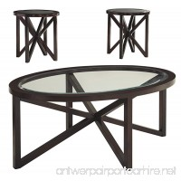 Ashley Furniture Signature Design - Sleffine Occasional Table Set - Tempered and Beveled Glass Tops - Set of 3 - Dark Brown - B00KALSLW8