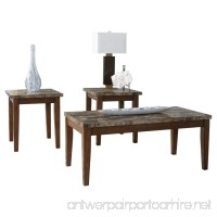 Ashley Furniture Signature Design - Theo Faux Marble Top Occasional Table Set - Contains Cocktail Table & 2 End Tables - Contemporary - Warm Brown - B007B6Z9CK