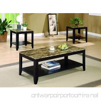 Coaster Transitional Three Piece Occasional Table Set with Shelf and Marble Look Top - B003AD7B7O