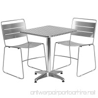 Flash Furniture 23.5'' Square Aluminum Indoor-Outdoor Table Set with 2 Silver Metal Stack Chairs - B01BOVN1OA