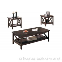 Poundex 3-Piece Coffee Table Cappuccino - B004AYE1Q6