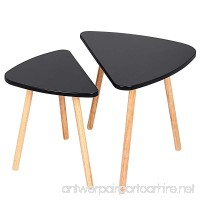 Utheing Nesting Tables Set of 2 Wooden Waterproof Small Coffee End Tables Triangle Shape Black - B07DNXCCXT