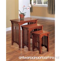 1PerfectChoice 3 Pieces Simple Mission Design Nesting Tables Snack Table Stand Solid Wood Oak - B01CZZ1BHS