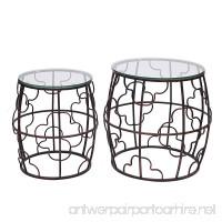 Adeco Classic Nesting Side Table Set (2 Pcs)-Black Black - B01GKIZLQS