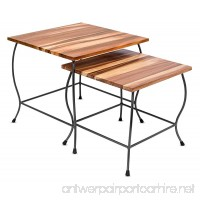 BirdRock Home 2pc Acacia Wood Nesting Tables | Natural Wood Bed Sofa Snack End Table | Industrial Design | Accent Side Table | Living Room - B06XN6PGST