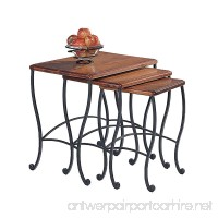 Coaster Nesting Tables Black Iron Base Frame with Rustic Oak Wood 3-Piece Set - B0002KNQSG