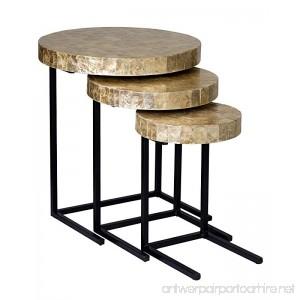 East At Main Greta Gold Modern Round Capiz Shell and Iron Nesting Tables (22x22x24) - B074GBQ3QC