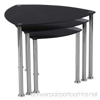 Flash Furniture Pacific Heights Black Glass Nesting Tables with Stainless Steel Legs - B079JBSTGT