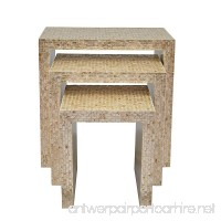 "Jofran 1730-14SND Global Archives Capiz Basket Weave Nesting Tables  Large 24"" W X 14"" D X 24"" H  Medium 19"" W X 14"" D X 20"" H  Small 14"" W X 14"" D X 16"" H  Sand Color  (Set of 3) - B074N2L8Z8"