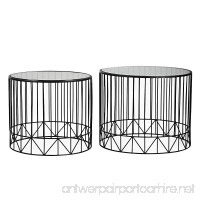 Joveco Black Accent Metal Round End Table Nesting Coffee Table with Glass Top  Set of 2 - B01ATYJKO8