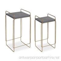 Kate and Laurel Strole 2-Set Modern Metal/Wood Nesting Tables  Concrete Gray top with Matte Gold Geometric Base - B07CTW8YJL