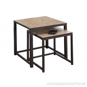 Monarch Specialties Terracotta Tile Top/Hammered Brown 2-Piece Nesting Tables - B00QUE9MOK