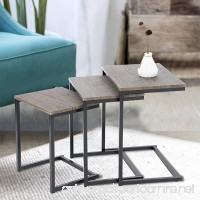 Set of 3 Dark Brown with Black Metal Frame Nesting Side End Table - B07BSSJRSC