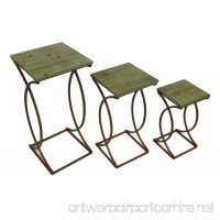 Zeckos Wood & Metal Nesting Tables Set Of 3 Rustic Curved Leg Wood Top Nesting Tables 13 X 27.5 X 13 Inches Red - B01HN64MK2
