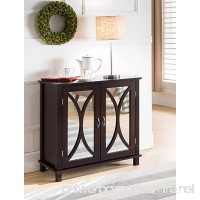 King Brand Marietta Espresso Wood Entryway Console Sofa Table Mirrored Doors - B01N9B2Y5I