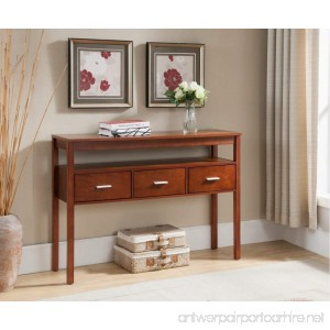 Kings Brand Console Entryway Table with 3 Drawers Walnut Finish Wood - B01H43WHS8