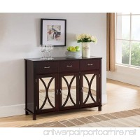 Kings Brand Rutheron Buffet Server Cabinet/Console Table Mirrored Doors Espresso - B01MXO7NKX