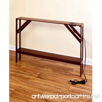 The Lakeside Collection Skinny Sofa Table with Outlet - Walnut - B07F3NR357