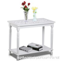 Topeakmart 29'' Chic Antique Carved Top Hall Console Table Shabby Entryway/Hallway Table with Shelf White - B01LYQK39M