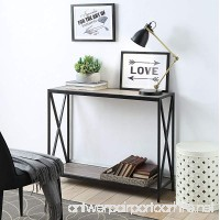 Weathered Grey Oak Metal frame 2-tier Console Sofa Table with X-Design by eHomeProducts - B07D533V5J