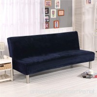 19V78 Plush Sofa Cover Sofa Bed Cover Futon Slipcover Solid Color Full Folding Elastic Armless 80 x 50 in Navy - B07B61J47G