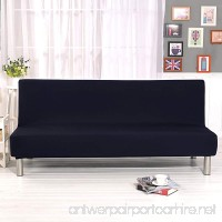 DIFEN Futon Slipcover Sofa Bed Cover Solid Color Full Folding Elastic Armless 80 x 50 inch Lightweight Stretch Furniture Protector (Black:80 x 50) - B07C8G7F1K