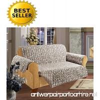 Elegance Linen Leaf Design Quilted Water-Absorbent Microfiber Reversible Furniture Protector/Slipcover  Sofa Size  Beige - B01JVFUN9M