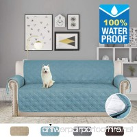 H.VERSAILTEX Non-slip and 100% Waterproof Furniture Protector Soft and Finish Crafted Sofa Protector/Slipcovers 75 inch X 112 inch (Smoke Blue) - B07BYFTVJB