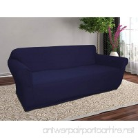 Linen Store Stretch Jersey Slipcover  Soft Form Fitting  Solid Color (Sofa  Navy) - B01J8KS0FO