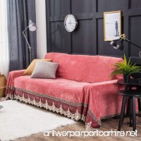 Love In The House Plush sofa slipcover 1-piece vintage lace suede couch cover anti-slip furniture protector for 1 2 3 4 cushions sofas-Coral red 200x260cm(79x102inch) - B077MF6MRY