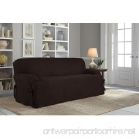 Serta Relaxed Fit Smooth Suede Furniture Slipcover for T-Sofa Chocolate - B0119PZKHC