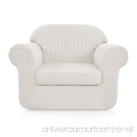 Subrtex 2-Piece Jacquard Fabric Stretch Sofa Slipcovers (Chair White Embossed) - B075477QT8