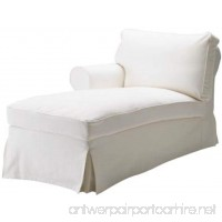 The White Ektorp Chaise with ARM Thick Cotton Cover Replacement Is Custom Made For Ikea Ektorp Chaise Lounge with Arm Sofa Slipcover. Sofa Cover Only! (Arm on the Left) - B078GVCN8H
