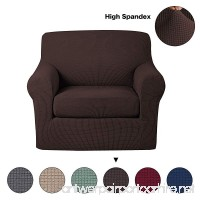 Turquoize Anti-Slip Jacquard 2-Piece Spandex Stretch Elastic Pet Dog Sofa Couch Cover Slipcover Arm-chair Furniture Protector Shield (Chair-Chocolate) - B07CKPRQKH