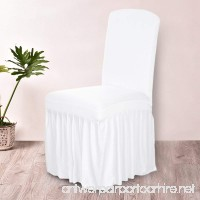 Anself Ruffled Stretchable Washable Dining Chair Cover Spandex Seats Slipcover for Wedding Party/Hotel (White-1) - B07BQHJ333