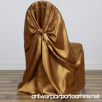 BalsaCircle 10 pcs Gold Universal Satin Chair Covers Slipcovers for Wedding Party Ceremony Reception Decorations - B016Z0WJ7U