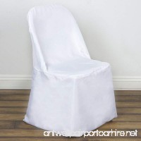 BalsaCircle 50 pcs White Polyester Folding Flat Chair Covers Slipcovers for Wedding Party Reception Decorations - B07D8WSZ1P