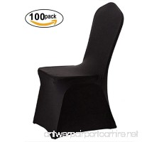 FCH 100 PCS Polyester Spandex Chair Covers w/4 Elasticated & Rugged Pockets Universal for Wedding Banquet Anniversary Party Home Decoration (BLACK  100 PCS) - B07BLTVQGQ
