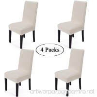 Gold Fortune Spandex Fabric Stretch Removable Washable Dining Room Chair Cover Protector Seat Slipcovers Set Of 4 (Cream) - B07561HZ2B