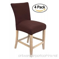 Internet's Best Dining Room Chair Cover   Set of 4   Stretch Slipover Chair Protectors   Elastic Covers   Coffee - B01NAIVQJJ
