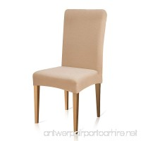 Subrtex Stretch Dining Room Chair Slipcovers(4  Milky Knit) - B0148EDH44