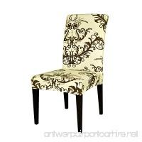 TIKAMI 1PCS Spandex Printed Fit Stretch Dinning Room Chair Slipcovers (Coffee  1) - B071NZ5R7K