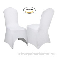 VEVOR Set of 100pcs White Color Polyester Spandex Banquet Dining Chair Covers for Wedding or Party Use (100 pc) - B074SK2HZ7